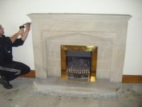 Solid stone fireplace c/w gas insert