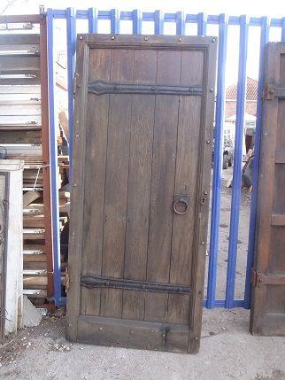 An Oak door c/w ironware