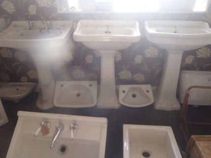 Selection New and old bathroom sinks